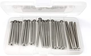 iExcell 25 Pcs M4 x 60mm/65mm/70mm/75mm/80mm Stainless Steel 304 Hex Socket Button Head Cap Screws Kit, Fully Threaded