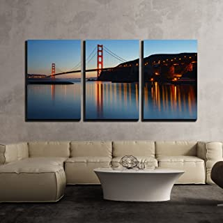 wall26 - 3 Piece Canvas Wall Art - Golden Gate Bridge at Twilight. San Francisco, USA - Modern Home Decor Stretched and Framed Ready to Hang - 16