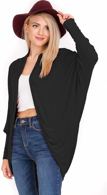 Women's Dolman Long Sleeve Cardigan Oversized Open Front Batwing Knit Outwear Cocoon