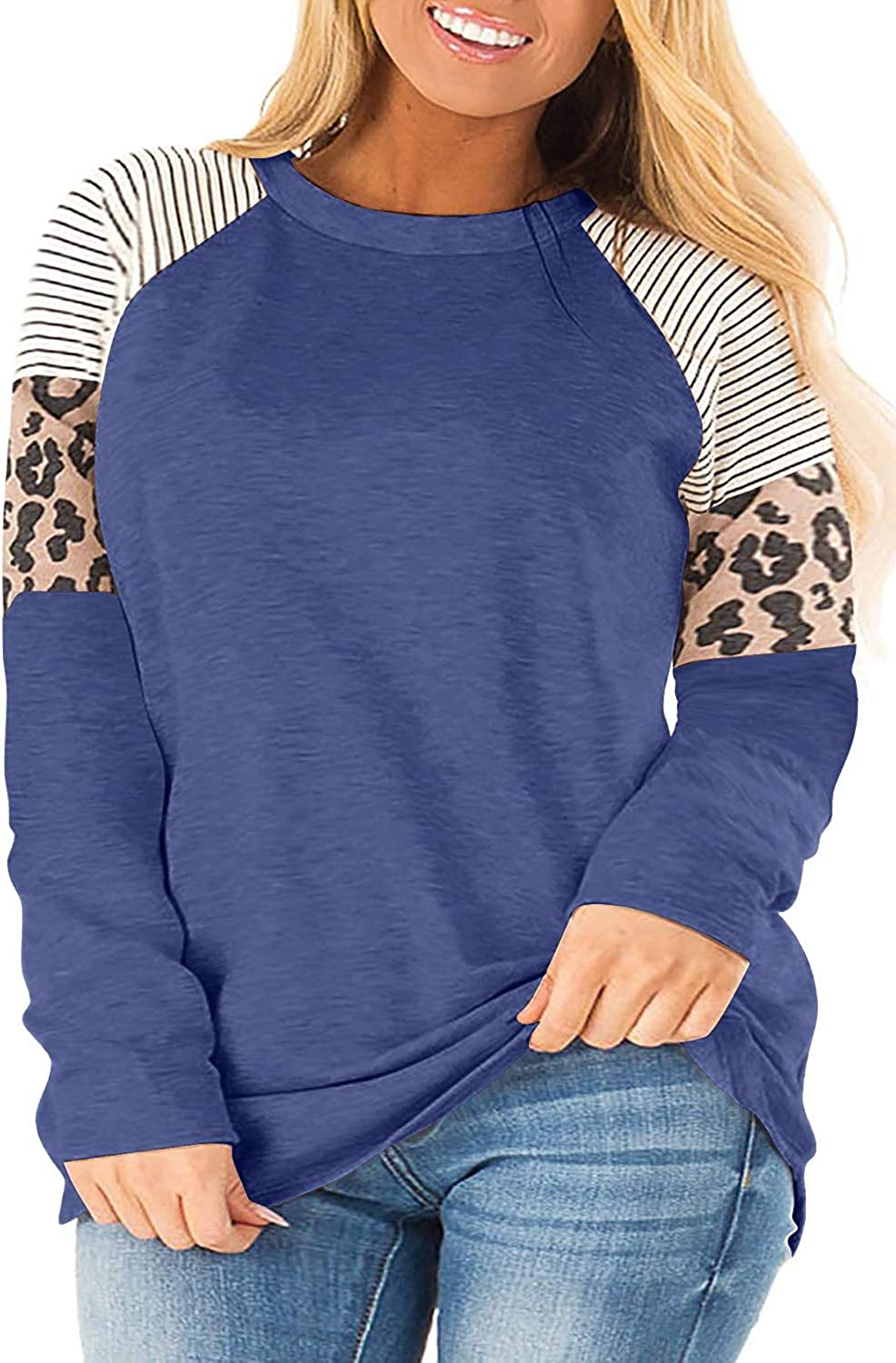 QUEEN PLUS Womens Plus Size Long Sleeve Striped Leopard Color Block Tunic Shirts Casual Tee Tops