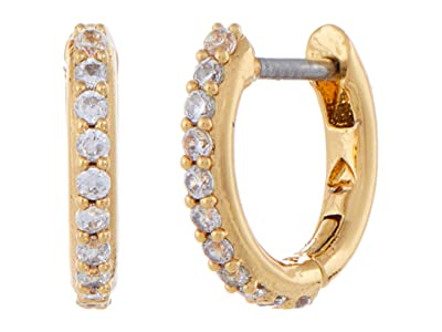 Kate Spade New York Tiny Twinkles Pave Huggies Earrings (Clear/Gold) Earring