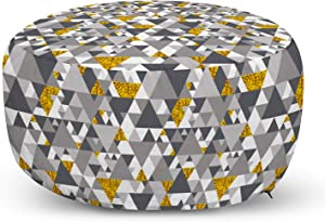 Ambesonne Grey and Yellow Ottoman Pouf, Zig Zag Triangles Futuristic Design with Yellow Details, Decorative Soft Foot Rest with Removable Cover Living Room and Bedroom, Charcoal Grey Marigold