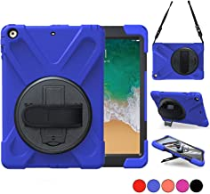 iPad 9.7 2018 2017 Case, TSQ iPad 5th 6th Generation Case Cover for Kids,Shockproof Rugged Protective Car Case with Shoulder Strap, Hand Grip & 360 Rotating Stand, Model A1822 A1823 A1893 A1954 Blue