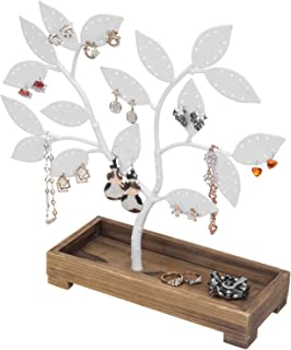 MyGift 68-Pair White Metal Jewelry Tree, Earring & Necklace Hanger with Wooden Trinket Tray