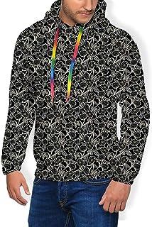 GULTMEE Men's Hoodies Sweatershirt, Outline Art Print with Botanic Garden and Butterflies,5 Size