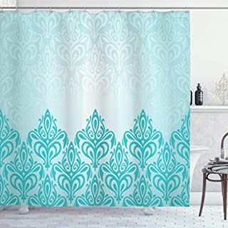 Ambesonne Turquoise Shower Curtain, Retro Style Medieval European Victorian Gradient Royal Pale Patterns Artwork Print, Cloth Fabric Bathroom Decor Set with Hooks, 70