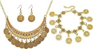wahrsagerin kostüm PPX 4 Stück Vintage Metallic Münze Ohrring Armband Und Halskette Set Schmuckset Boho-Stil Bib Front
