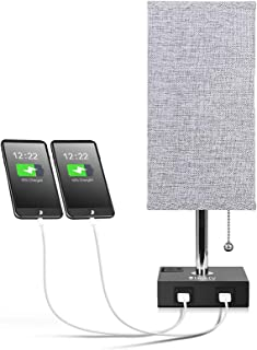 Original BESTY HOME Bedside Lamp, USB Table Lamps with 2 USB Charging Ports, Nightstand Lamp with Grey Fabric Shade, Ambie...