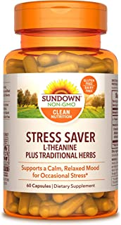 L-Theanine Stress Formula by Sundown, Non-GMOˆ, Free of Gluten, Dairy, Artificial Flavors, 60 Capsules, 200 mg, Packaging ...