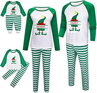 PowerFul-LOT Family Christmas Long Sleeve Printed Letter Top+Stripe Pants Pajamas,Men,Women,Kid,Baby Print Blouse Tops and...