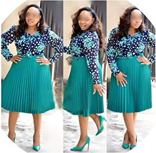 African Dresses South Africa Woman Patchwork Dress Mesh Long Sleeve Bead Floral Blouse Shirt Pleated Dresses,Green,L
