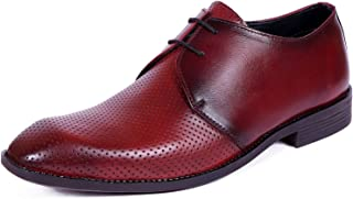 Kanprom Men's Maroon Red Genuine Leather Formal Derby Dotted Lace-Up Shoes