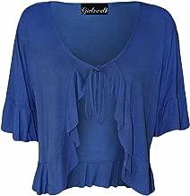 GirlzWalk Women's Plus Size Frill Tie Short Sleeve Viscose Bolero Shrug Top (US 10 to 24)