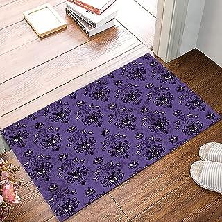 Indoor Doormat Absorbent Welcome Mats 16 x 24 inch Halloween Grimace Haunted Mansion Pattern Felt Floor Door Mat with Non-Skid Backing, Fit for Entry Way/Kitchen/Bedroom