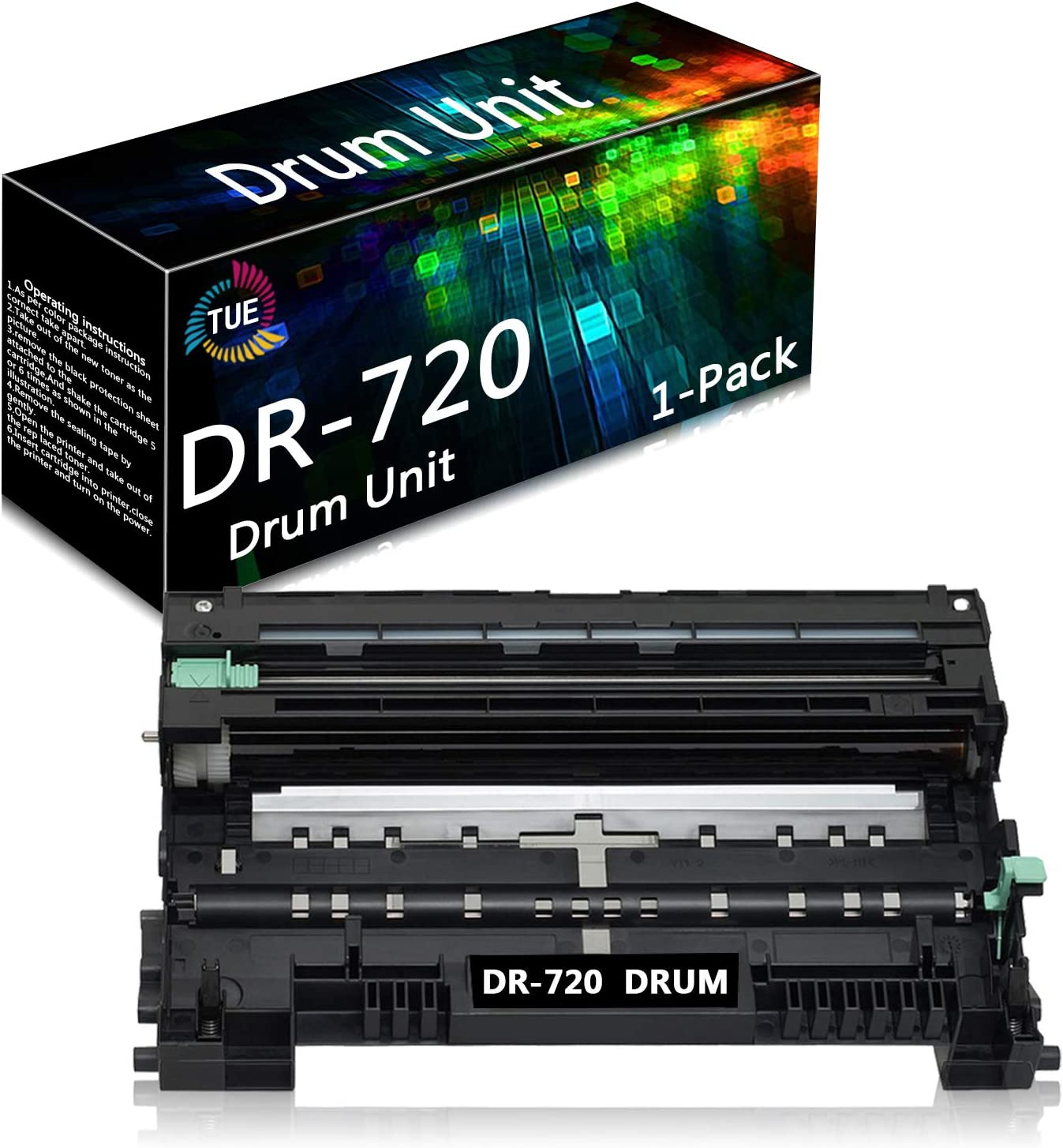 DR720 DR-720 Black 1 Pack Compatible Drum Unit Replacement for Brother HL-5440D 5450DN 5470DW/DWT DCP-8110DN 8150DN 8155DN 8510DN MFC-8710DW 8810DW 8910DW Printer, Sold by TueInk