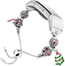 TOYOUTHS Christmas Bands Compatible with Fitbit Charge 2 Bands, Bangle Bracelets Accessories Jewelry Adjustable Replacement Strap with Mixed Beads, Red Gift for Christmas