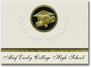 Signature Announcements Alief Early College High School (Houston, TX) Graduation Announcements, Presidential style, Elite package of 25 Cap & Diploma Seal Black & Gold