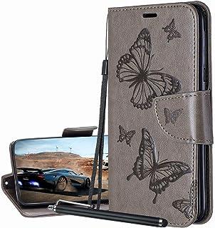 Laybomo Carcasa para Samsung Galaxy A21s Tapa Funda Cuero Estilo-Mariposa Monederos Billetera Bolsa Magnética Protector Si...