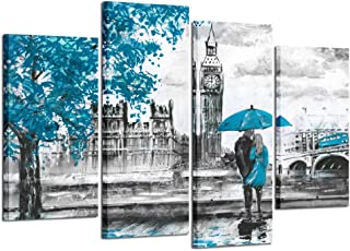 Kreative Arts Black and White Wall Art HD Prints Landscape Canvas Paintings Blue London Street Artwork Man and Woman Under Red Umbrella Modern Wall Decor Pictures Wooden Framed (Big Ben Blue, Large)