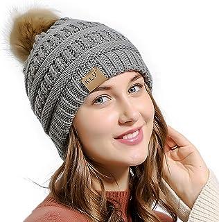 Muryobao Women's Warm Winter Beanie Hat Stretch Slouchy Skully Knit Cap Pom Bobble Hat