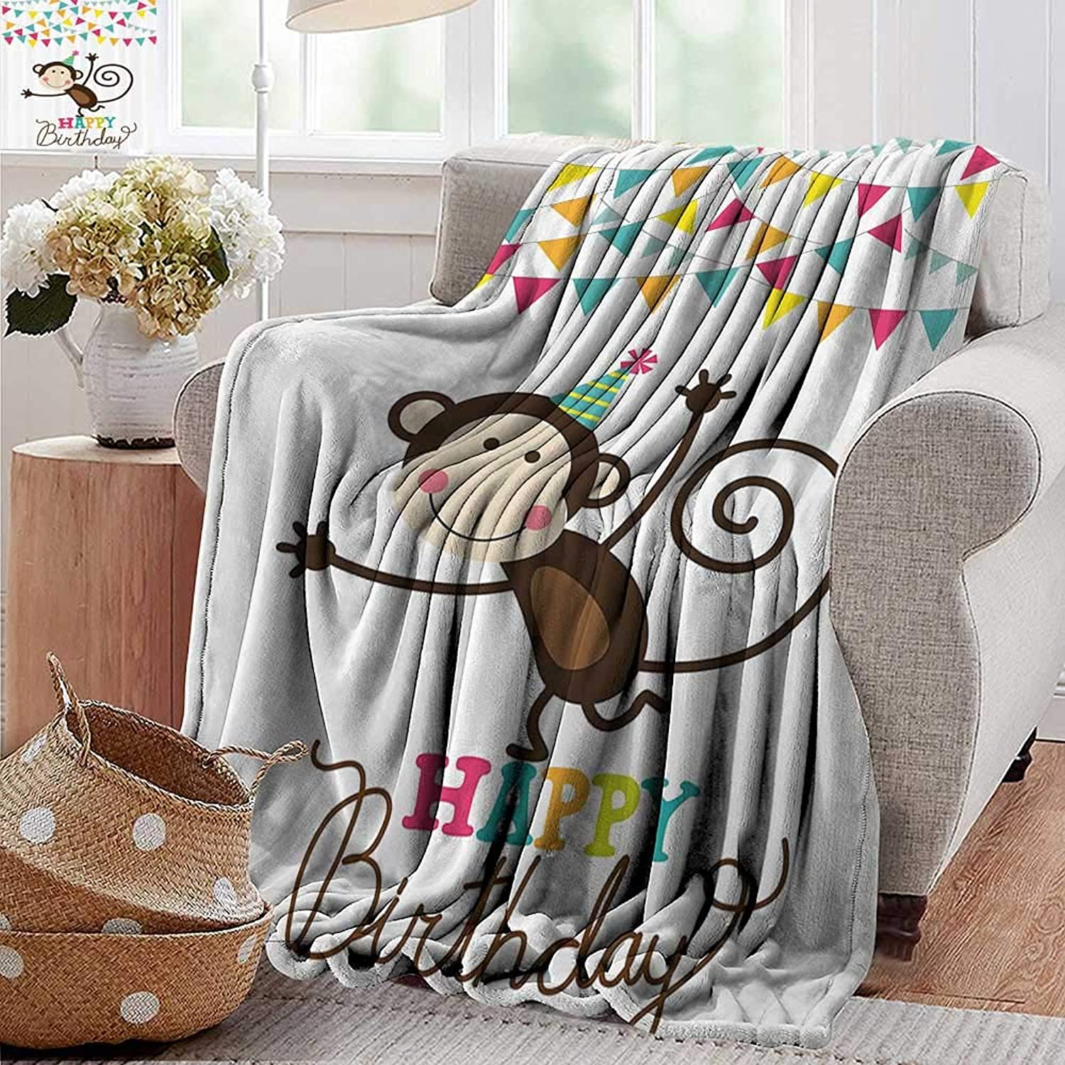 PearlRolan Ultra Soft Flannel Blanket,Birthday Decorations for Kids,Brown Monkey Posing at a Party with Two Line Flags Cone Image,Multicolor,Lightweight Microfiber,All Season for Couch or Bed 35 x60