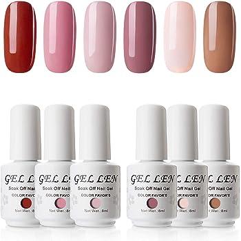 Gellen Gel Nail Polish Set - Pink Nudes 6 Colors, Popular Nail Art Colors UV LED Soak Off Autumn Nail Gel Kit