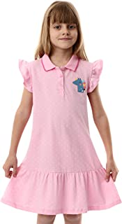 HILEELANG Kids Girl Dress Summer Short Sleeve Cotton Casual Pink Polo School Uniform Shirt Dresses 4T