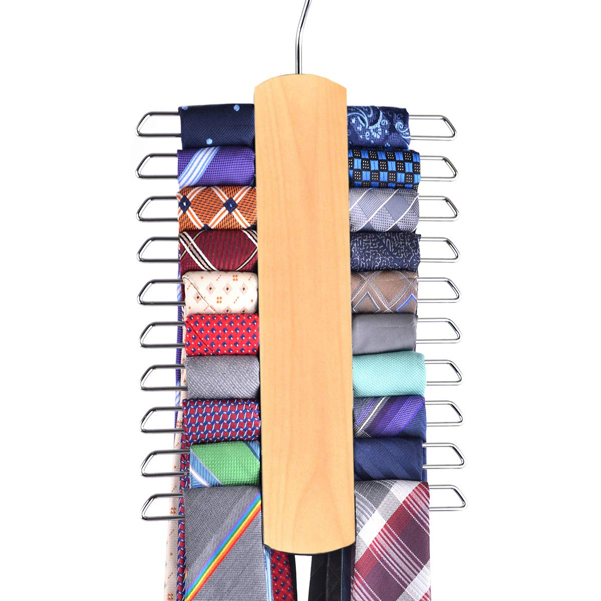 Umo Lorenzo Premium Wooden Necktie and Belt Hanger, Walnut Wood Center Organizer and Storage Rack with a Non-Slip Finish - 20 Hooks (Light Wooden 2)