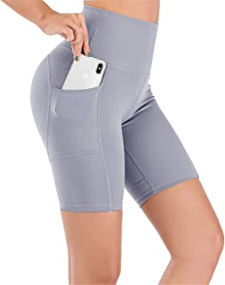 UBFEN Women's High Waist Yoga Shorts Workout Athletic Shorts for Tummy Control Running Sports Pants with Pockets