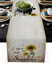 Sunflowers Rustic Table Runner-Cotton Linen-Long 90 Inch Dresser Scarves,Farmhouse Kitchen Coffee/Dining/Sofa/End Living R...
