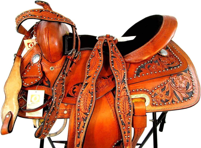 Silla DE MONTAR Caballo Western Saddle 14 15 16 Trail Pleasure Leather TACK Set