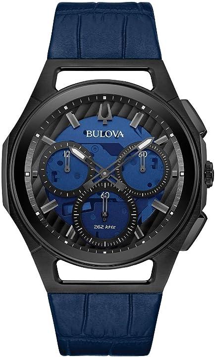 Orologio bulova curv cronografo uomo cinturino in pelle blu 98a232