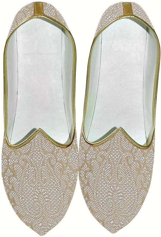 INMONARCH Mens Beige Wedding shoes Floral Design MJ014059