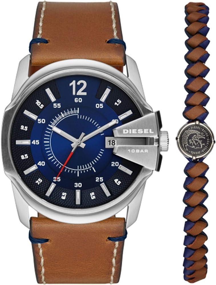 Diesel  orologio piu` braccialetto unisex cassa in acciaio inossidabile e cinturino in pelle DZ1925