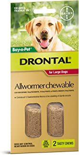 Drontal Allwormer Chews for Dogs 10-35kg, 2 Pack