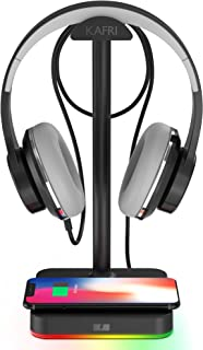 RGB Headphone Stand with Wireless Charger KAFRI Desk Gaming Headset Holder Hanger Rack with 10W/7.5W Fast Charge QI Wirele...