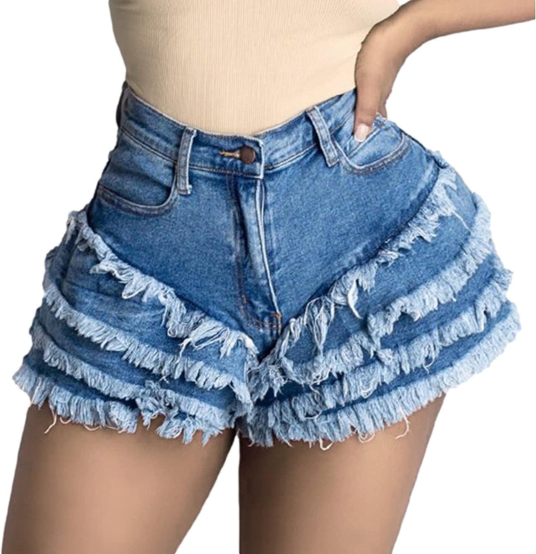 Sale Qinvern Women's Denim Shorts for Waist Streetwear High Ta Summer OFFicial