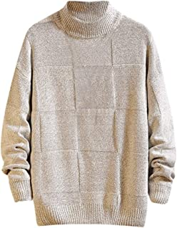 waotier Jerséis Hombres Invierno Suéter de Punto Casual Pure Color Turtleneck Suave Mantener Caliente Jersey de Punto de Manga Larga Sudadera