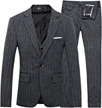 Mens Stripe Center Vent 1 Button 3-Piece Suit Blazer Jacket Tux Vest Trousers