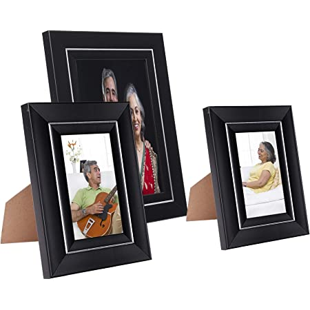 Amazon Brand - Solimo Collage Photo Frames, Set of 3, Tabletop (2 pcs - 4x6 inch, 1 pc - 6x8 inch), Black & Silver