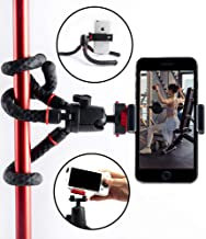Gym Phone Mount - Flexible Tripod Holder For Phone and Cameras | Attaches to Exercise Equipment For Watching or Taking Video and Photos | Cell Phone Selfie Stick Tripod Stand For Men and Women