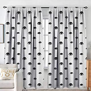 NUOMANAN Kitchen Curtains Eyelash,Repeating Hand Drawn Style Black Eye Figures Bohemian Style Tribal Ethnic Design, Black White,Darkening and Thermal Insulating Drapes 54
