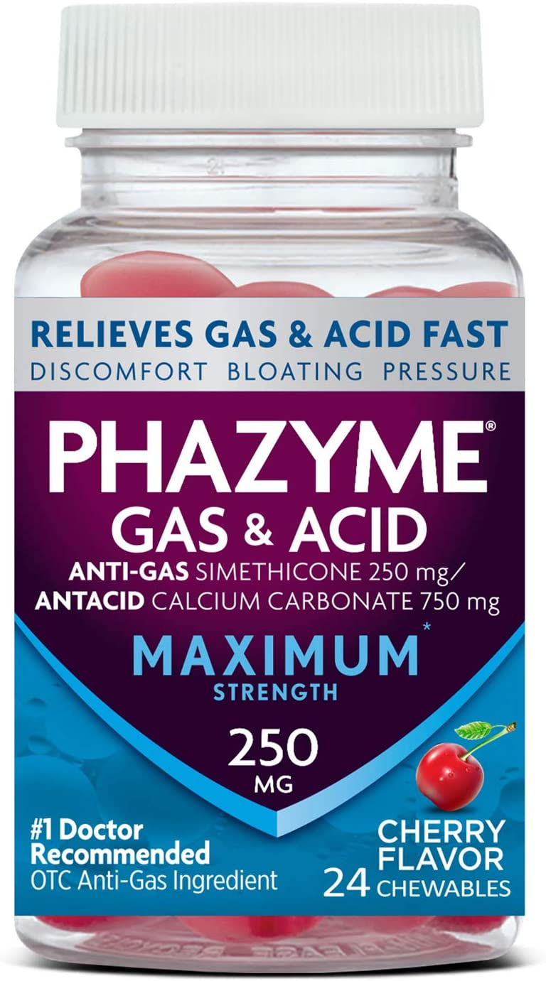 Phazyme Maximum Strength Gas & Acid Relief, Works Fast, Cherry Flavor, 24 Chews : Health & Household