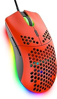 ゲーミングマウス 軽量マウス ハニカム オムロンスイッチ搭載 6400DPI 7鍵 PC PS4 スイッチ対応 レッド