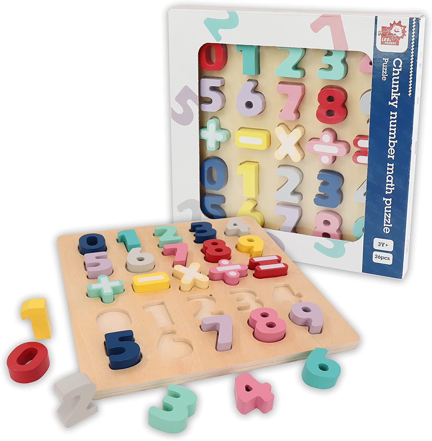 LEO FRIENDS Luxury Chunky Number Max 52% OFF Math Shape Wooden Puzzle Cou