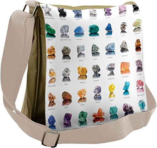 Ambesonne Gemstone Messenger Bag, Mineral Geology Theme, Unisex Cross-body