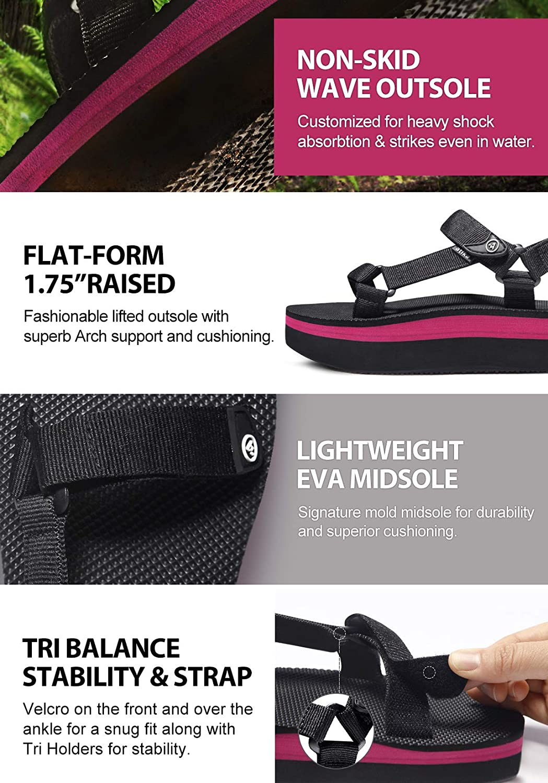 atika Women's Islander Flatform Sandals, Outdoor Strap Walking Summer Sandals, Water Beach Sandals with Arch Support