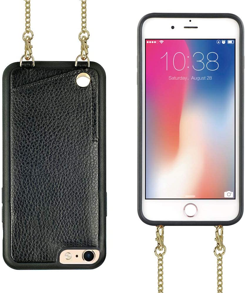 iPhone 6 Plus Wallet Case, iPhone 6s Plus Wallet Case, JLFCH Leather Wallet Case with Card Slot, Leather Metal Crossbody Strap, Full Frame Protection Case for Apple iPhone 6 Plus/6s Plus 5.5'' - Black