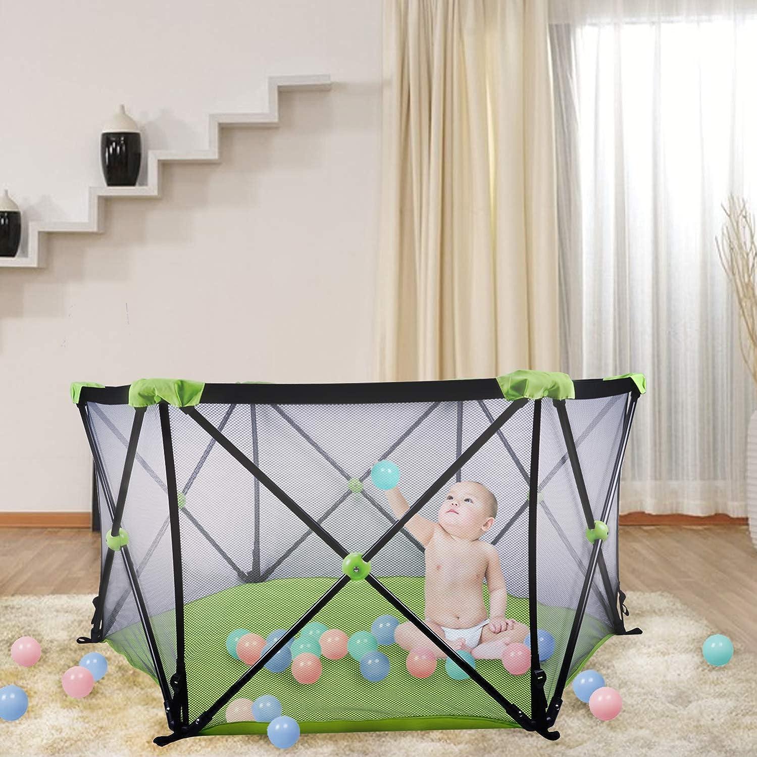 医学皮肉な赤ちゃんポータブルプレイペン 屋内?屋外用 ポータブル折りたたみキャリーケース付き 洗濯可能 折りたたみ可能