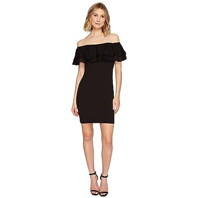 Jessica Simpson Solid Scuba Ruffle Off the Shoulder Dress (Black) Women